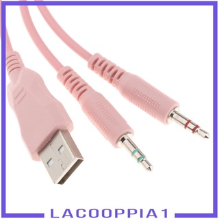 [LACOOPPIA1] Over Ear Gaming Headset Headphone for Gamer Double 3.5mm Interface Pink