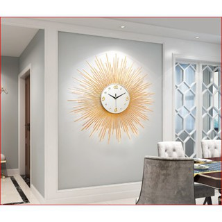 Đồng hồ treo tường hình mặt trời vàng Lian675 hàng chính hãng. Làm quà tặng tân gia, trang trí phòng khách (BH 12 tháng)