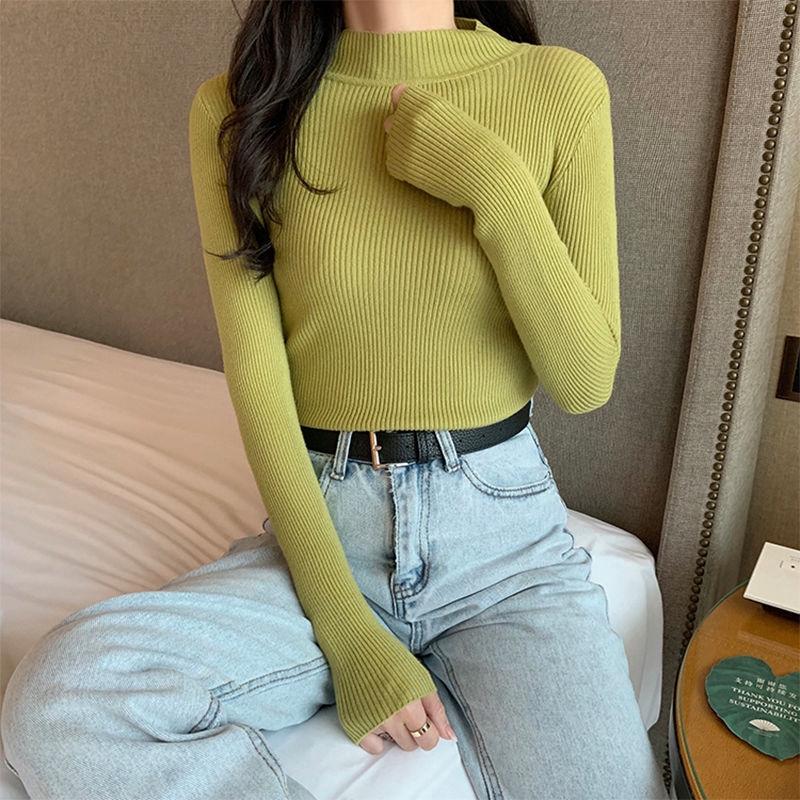 Áo len tay dài cổ lọ ôm dáng phong cách hợp thời trang 23171