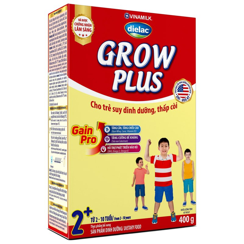 SỮA BỘT VINAMILK DIELAC GROW PLUS 2+ - HỘP GIẤY 400G (CHO TRẺ 2-10 TUỔI)