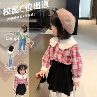 Áo sơ mi kẻ sọc nữ, áo sơ mi tay mới mùa thu, áo sơ mi búp bê kẻ sọc trẻ em, phiên bản trẻ em