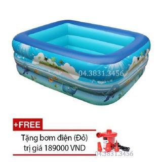 Bể bơi phao 3 tầng cho bé 180x130x40cm + Bơm Điện 2018