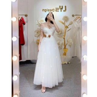 KÈM VIDEO THẬT – Đầm xòe công chúa trễ vai kết hoa eo -MS37V- Size M L đến 58kg