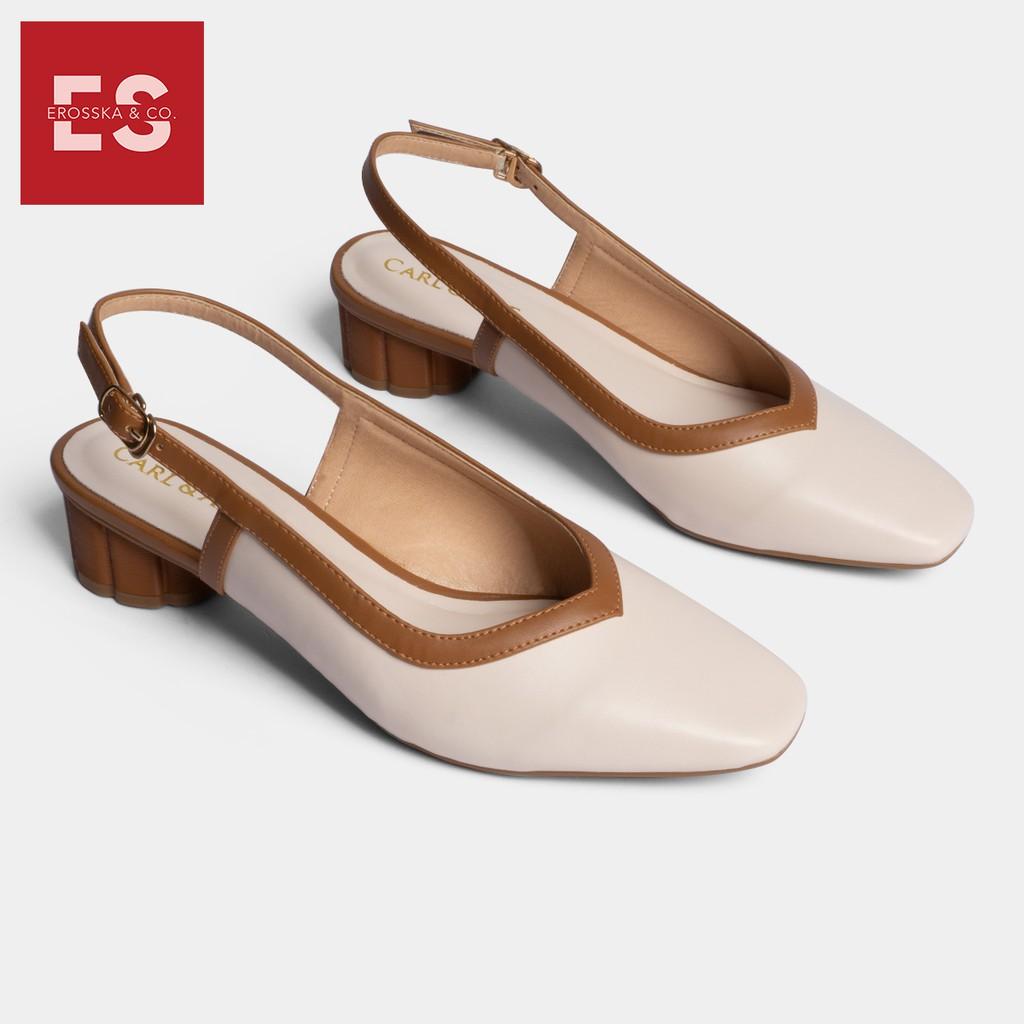 Carl & Ane - Giày cao gót thời trang mũi vuông hở gót phối dây tinh tế cao 3cm màu kem nhạt _ CL005