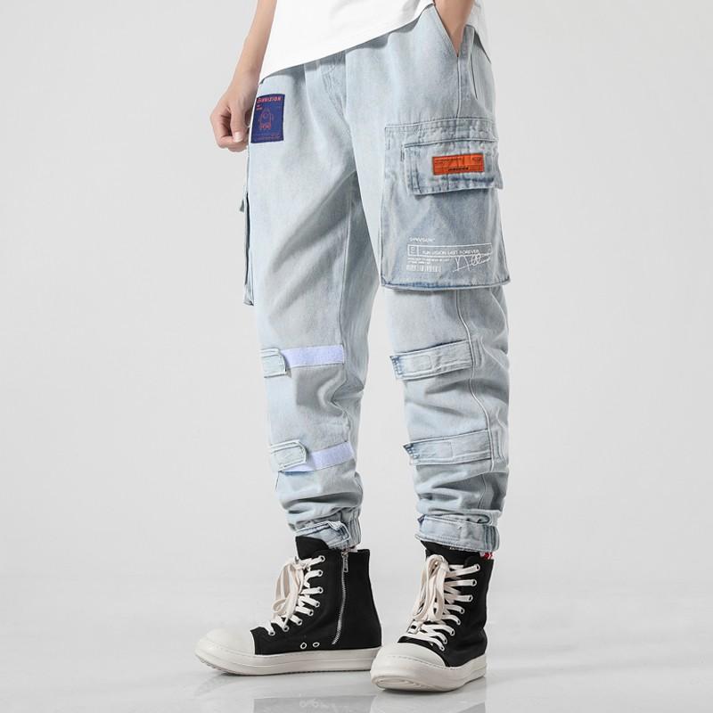 กางเกงยีนส์ชายไม่รัดรูปแนวย้อนยุค