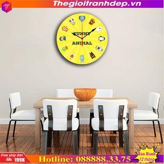 Tranh đồng hồ treo tường in hình thú dễ thương