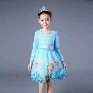 Xả hàng váy Elsa  + phụ kiện còn size 130 màu xanh