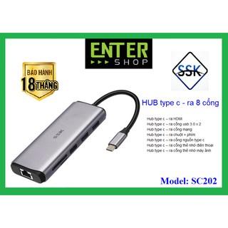 HUB chuyển đổi từ type-c – kết nối ra 8 cổng – SC202 cao cấp có tặng kèm túi bảo vệ Hub