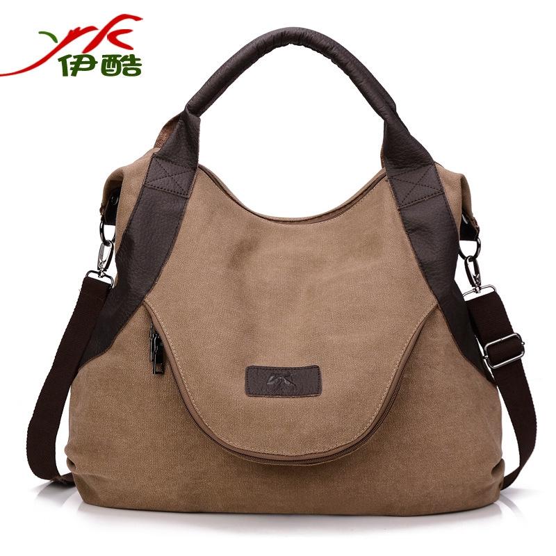 กระเป๋าผ้าใบสะพายไหล่ความจุขนาดใหญ่สไตล์วินเทจ messenger