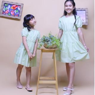 Đầm bé gái tay thun cổ tròn nền nã rất dễ thương và đậm chất vintage, chất vải cotton 100% sợi tự nhiên mềm mịn - Jadiny