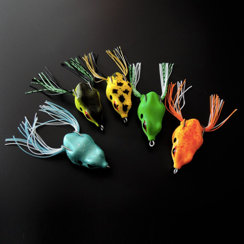 Bộ 5 Mồi Nhái giả câu Cá Lóc, Cá Mú 5,5cm