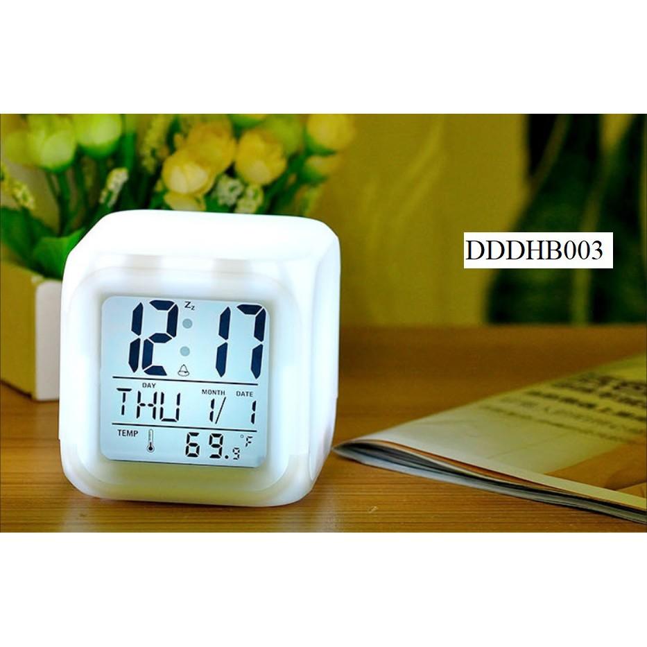 Đồng hồ báo thức kỹ thuật số, đồng hồ để bàn màn hình Led, phát quang nhiều màu sắc cực hot