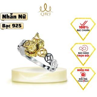 QMJ Nhẫn Trâu ôm thỏi vàng bạc 925 mạ vàng, ngày vía thần tài, may mắn thumbnail