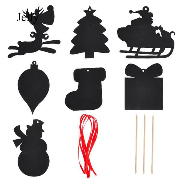 7pcs Magic Rainbow Scratch Art Card Scraping Toys for Christmas Decorations J914