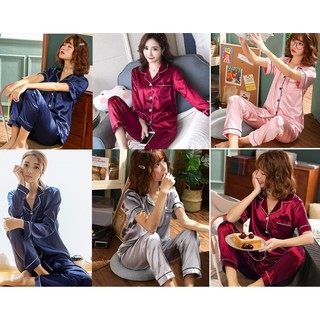[CHẤT LƯỢNG_CÓ TRỢ SHIP] Đồ bộ Pijama Lụa cao cấp quần dài áo tay dài, pyjama tay ngắn hàng Quảng Châu loại 1
