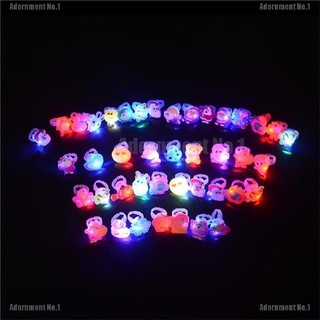 [AdornmentNo1] 10pcs/lot Cute Kids Child LED Light Up Flashing Finger Rings Glow Party Favor