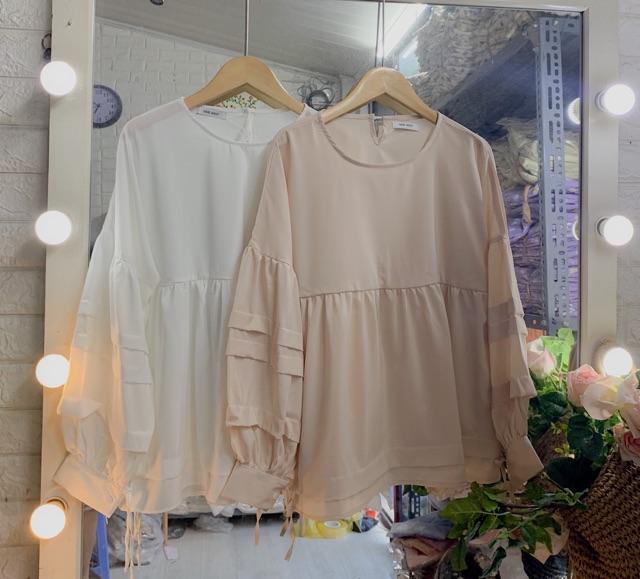 [Mã WAP15 hoàn 15% xu đơn 150k] [HOT TREND] Áo babydoll xếp ly tay 2 màu trắng, be (ảnh thật cuối)