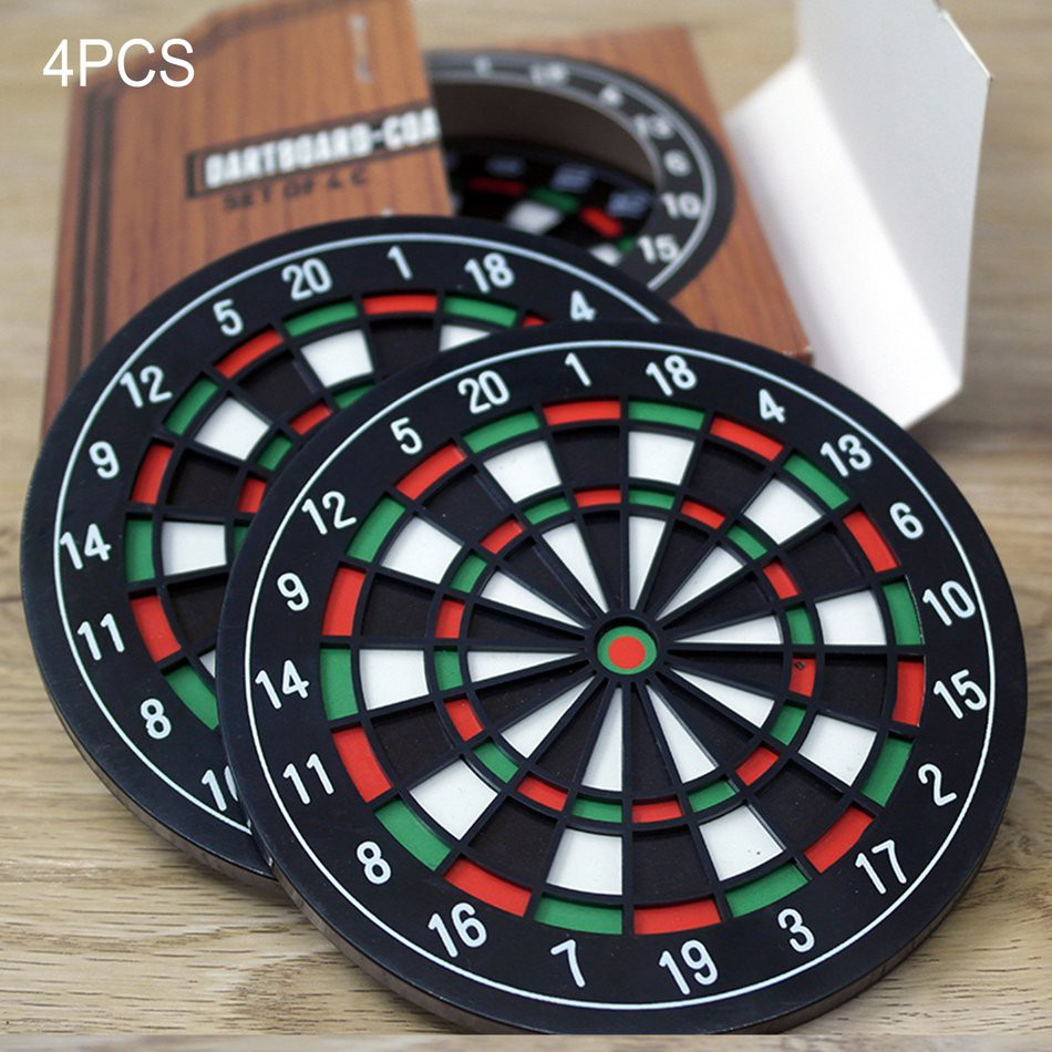 4PCS/SET Dart Disc Drink Coasters Table Cup Mat Home Decor Drink Cup Placemat
