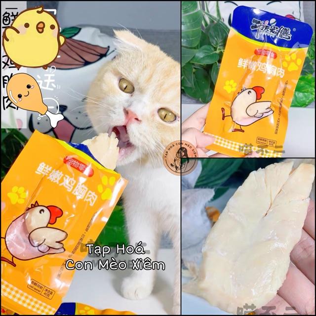 Ức Gà cho chó mèo hấp ăn liền gói 40gr- Thức ăn dinh dưỡng ăn vặt tăng cân ưa thích cho thú cưng Con Mèo Xiêm