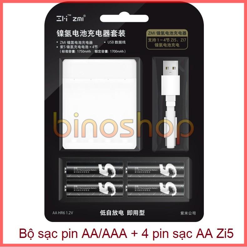 Bộ sạc pin AA/AAA Xiaomi PB401 kèm Pin sạc AA Xiaomi Zi5