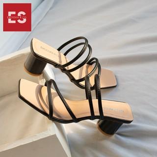 Hình ảnh Dép cao gót Erosska thời trang mũi vuông phối dây quai mảnh cao 5cm màu kem _ EM038-4