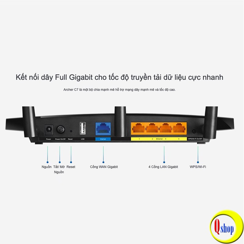 Bộ Phát Wifi TP-Link Archer C7 Băng tần kép Chuẩn AC1750 - Hàng Chính Hãng