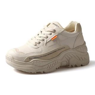 Giày thể thao sneaker nữ độn đế cao phong cách hàn quốc viền tim chữ da cao cấp có màu trắng xám đẹp giá rẻ