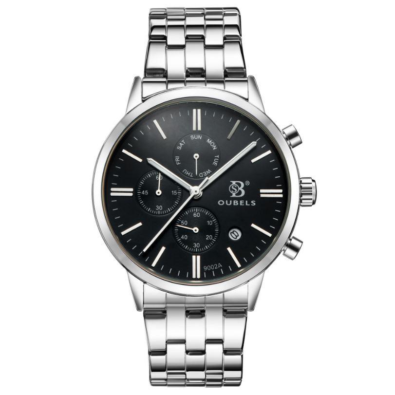 Đồng hồ nam OUBELS chính hãng Fullbox, dây thép không gỉ, có lịch thứ, lịch ngày, 6 kim dạ quang - OUBS4