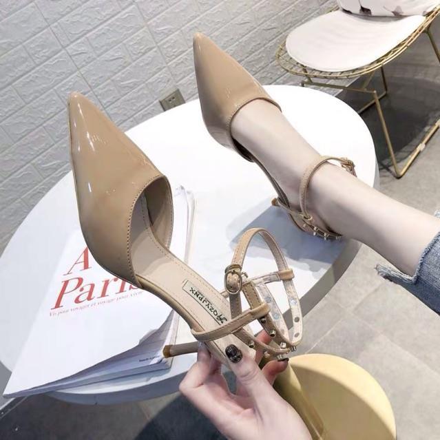 HOT (Order-ảnh thật) sz 34-39 Giày cao gót quai hậu phối đinh siêu sang, gót nhọn 7,5cm