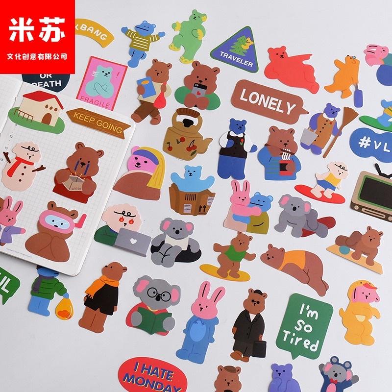 Set 50pcs stickers nhựa lớn dán máy tính ipad vali trang trí