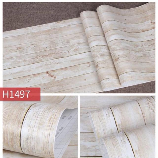 10 mét decan giấy dán tường sẵn keo giả gỗ vàng nâu 3D chống thấm nước