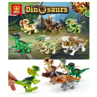 Bộ 6 hộp lego lắp ráp xếp hình mô hình khủng long săn mồi và khủng long hoang dã ZB9969
