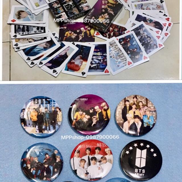 Bộ bài BTS 1 bộ 54 ảnh khác nhau , 3 huy hiệu nhóm , logo BTS ngẫu nhiên