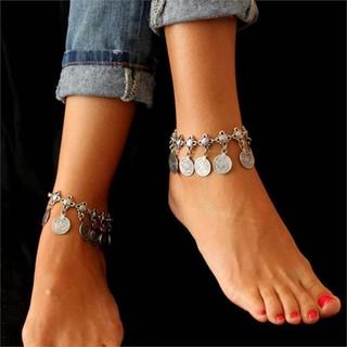 Kim loại Tassel vòng chân Vintage Charm Coin Bãi biển vòng chân thumbnail