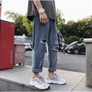 [CÓ SẴN – ẢNH THẬT] Quần jeans baggy unisex rách cao cấp phong cách ULZZANG Hàn Quốc