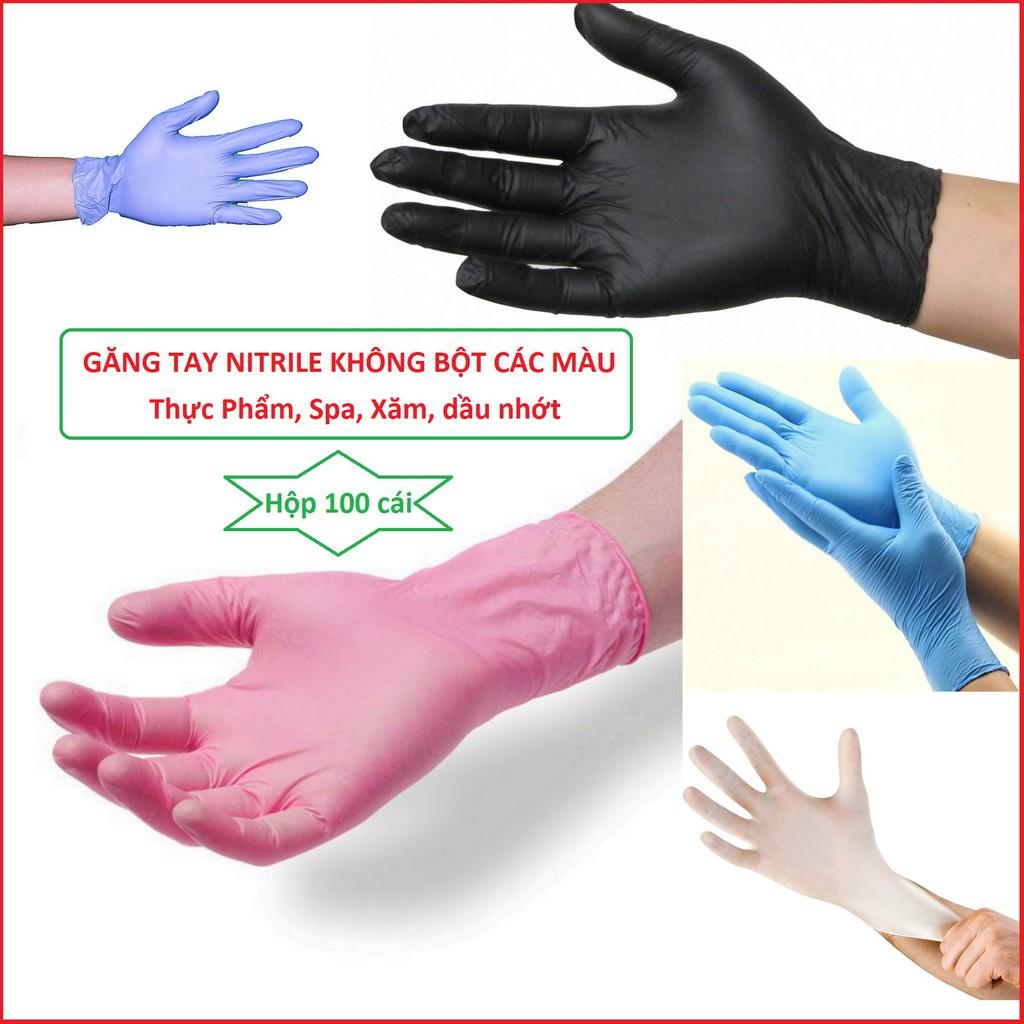 [Mã NOWSHIPVUI1 giảm 25k đơn 50k] Găng tay y tế không bột màu đen | màu xanh hộp 100 cái