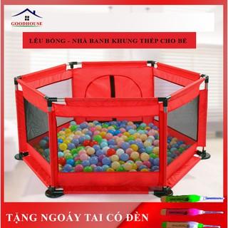 Nhà bóng cho bé, quây bóng, lều bóng lục giác khung inox siêu bền an toàn cho bé- TẶNG KÈM 10 BÓNG thumbnail
