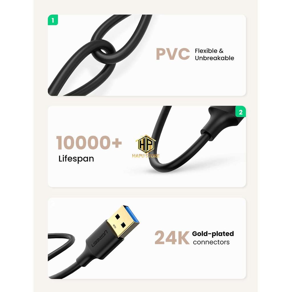 Cáp USB 3.0 hai đầu đực Ugreen 10369 dài 0,5m chính hãng - Hapustore