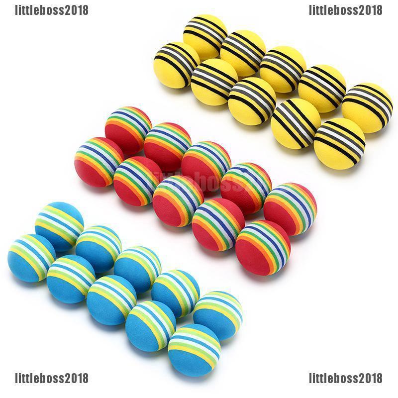 Set 10 quả bóng golf bằng xốp EVA họa tiết kẻ sọc chuyên dụng luyện tập