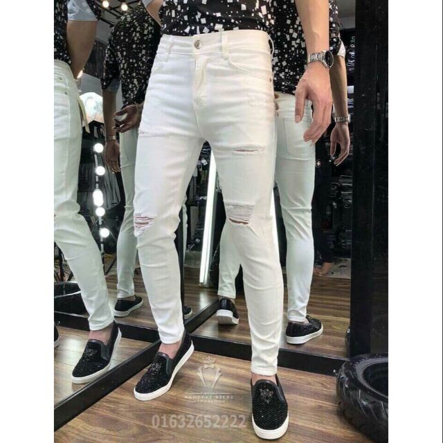 Quần jean nam trắng rách xước 35