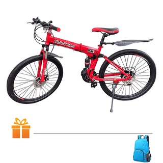 Xe đạp gấp thể thao King Tong (2 màu vàng & đỏ) TẶNG Balo dây rút thumbnail