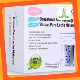 30 Túi trữ sữa Unimom Compact không có BPA 210ml