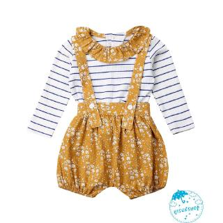 ☀Sun❤Toddler Baby Girl Peter Pan Collar Long Sleeve Stripe Ruffle T-Shirt Tops+ Bib Shorts Suspender Pants Clothing