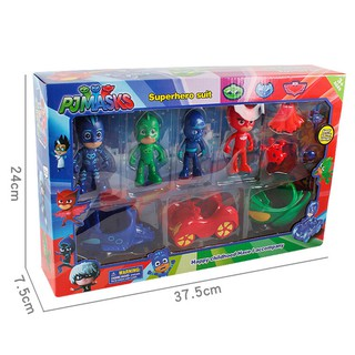 Aiary 10 PCS/Set PJ Masks Toys Doll With Scooter Box Catboy Owlette Gekko Figure Toys