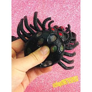 Đồ chơi gudetama bóp trút giận con nhện đen to mang hạt nở