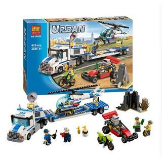 """""""VỪA CHƠI VỪA HỌC"""" Mẫu Lắp Ráp Lego Xe Tải Chở Trực Thăng Cảnh Sát Bela Urban Police 10422"""