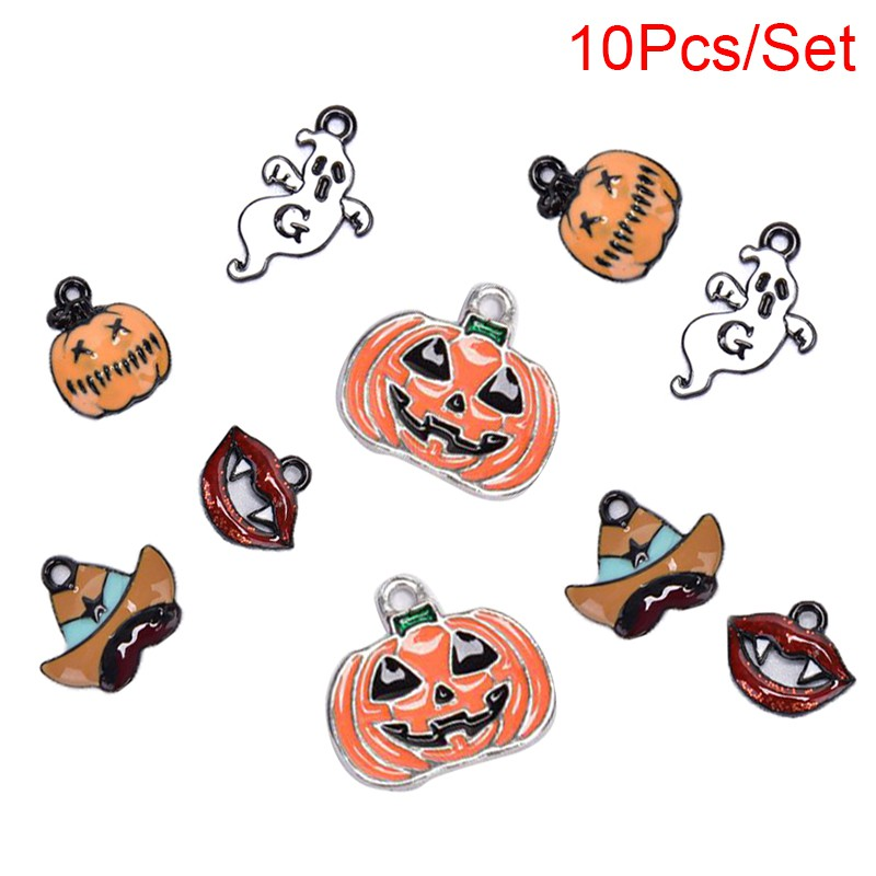 ❤ADegring 10Pcs/Set Enamel Alloy Mixed Halloween Charms Pendant Jewelry Making DIY Craft