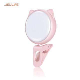 Đèn LED Selfie trợ sáng kẹp điện thoại hình con mèo Jisulife BL02_3 cấp độ tạo hiệu ứng ánh sáng_BH 12 tháng chính hãng