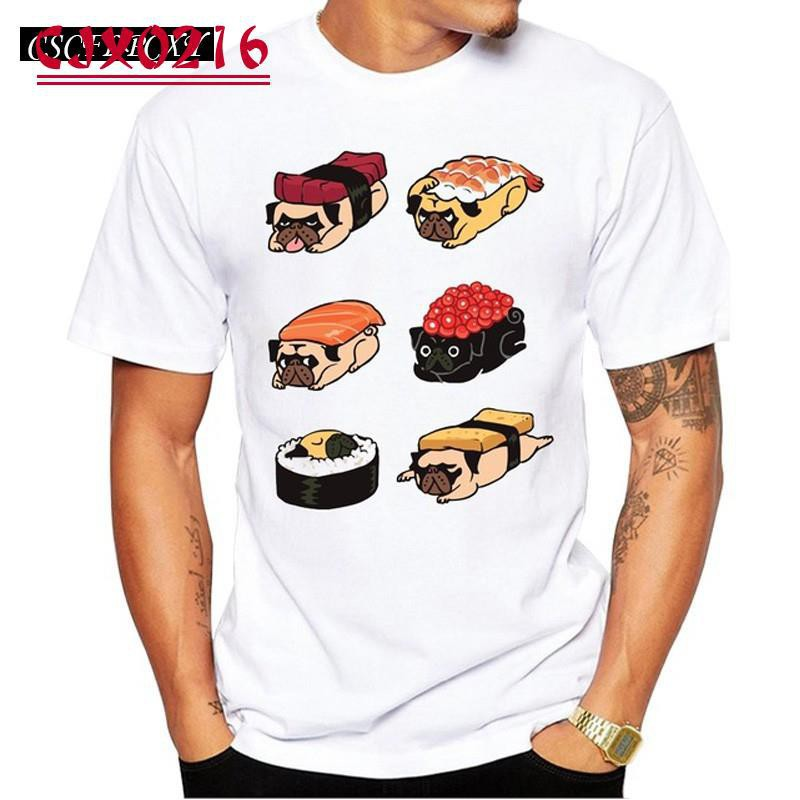 CJX Fashion Men T Shirts Sushi Pug Design Casual s Hipster Pugs T-Shirt Cool