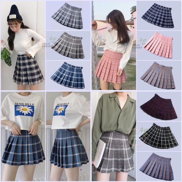 Chân Váy Tennis caro Quảng Châu Loại 1 ( 7 màu có clip, ảnh thật, có size lớn)